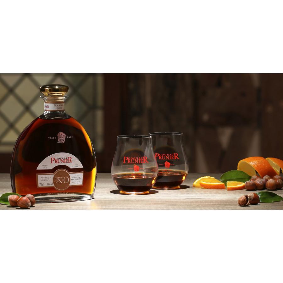 Prunier XO Carafe Cognac + 2 glasses 01