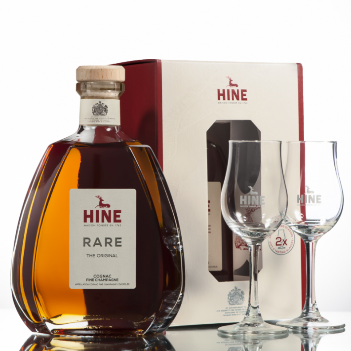 Hine VSOP Rare Fine Champagne Cognac + 2 Glasses 01