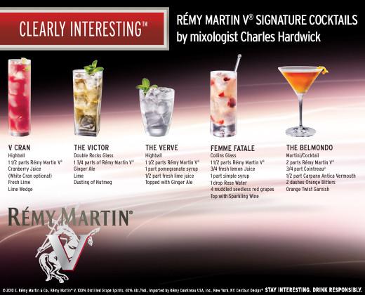 Remy Martin V Signature Cocktails