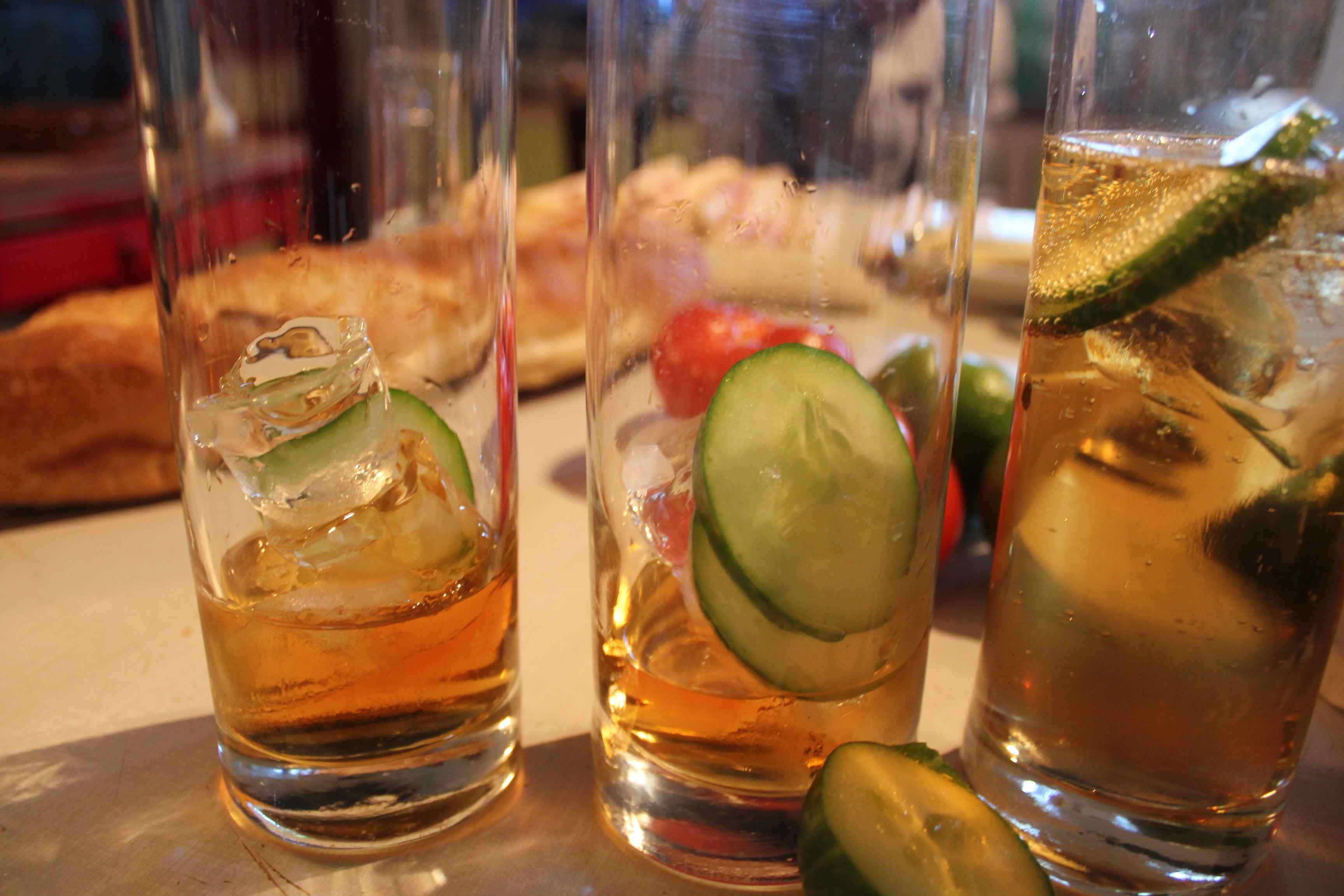 Cucumber in the Cognac drink