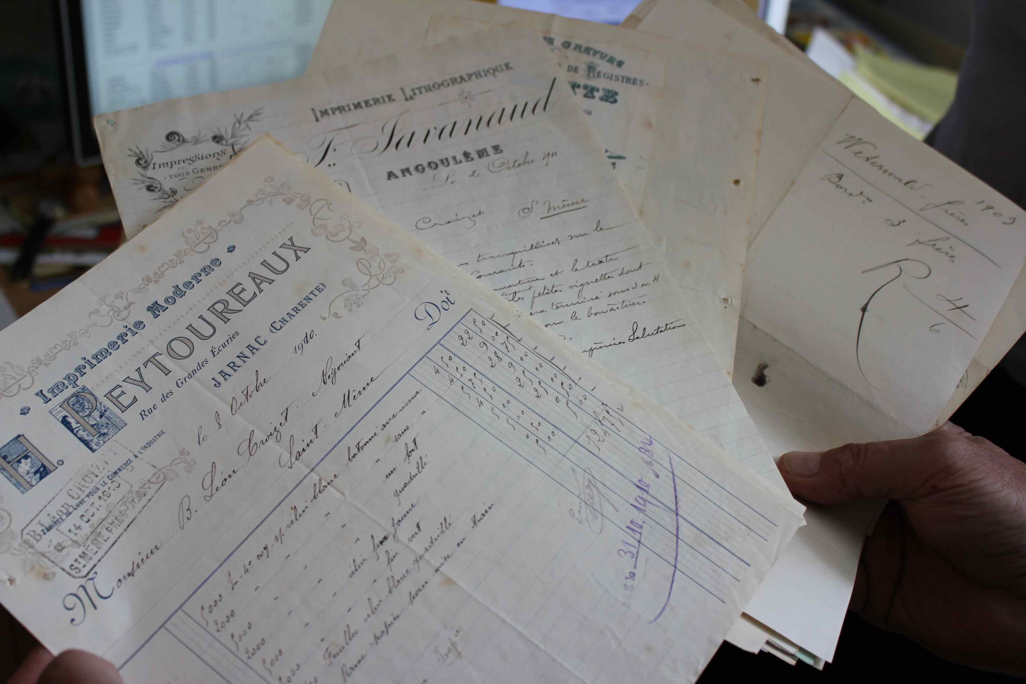 Old cognac merchant documents