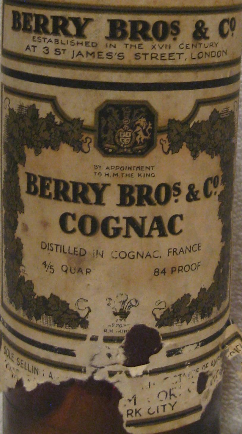 Berry Bros & Co Cognac 84 Proof Bottle