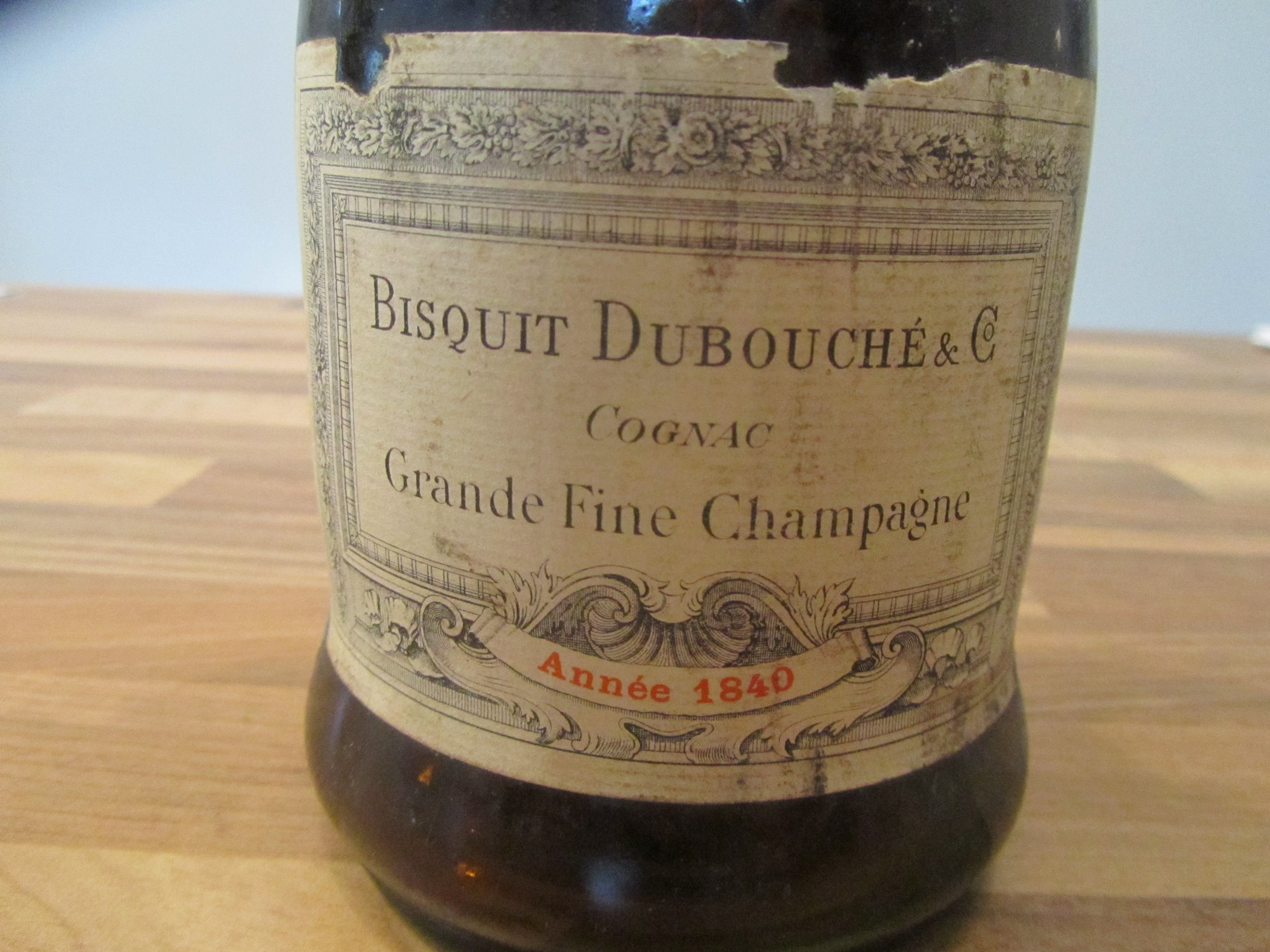 Old Bottle Grande Fine Champagne Bisquit Dubouché & Cie Year 1840