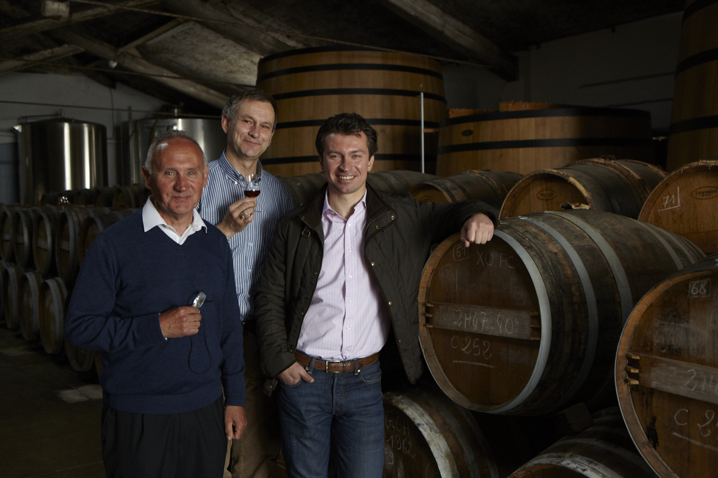 Hervé and his father Christian Bache-Gabrielsen and Master Blender in the cellars