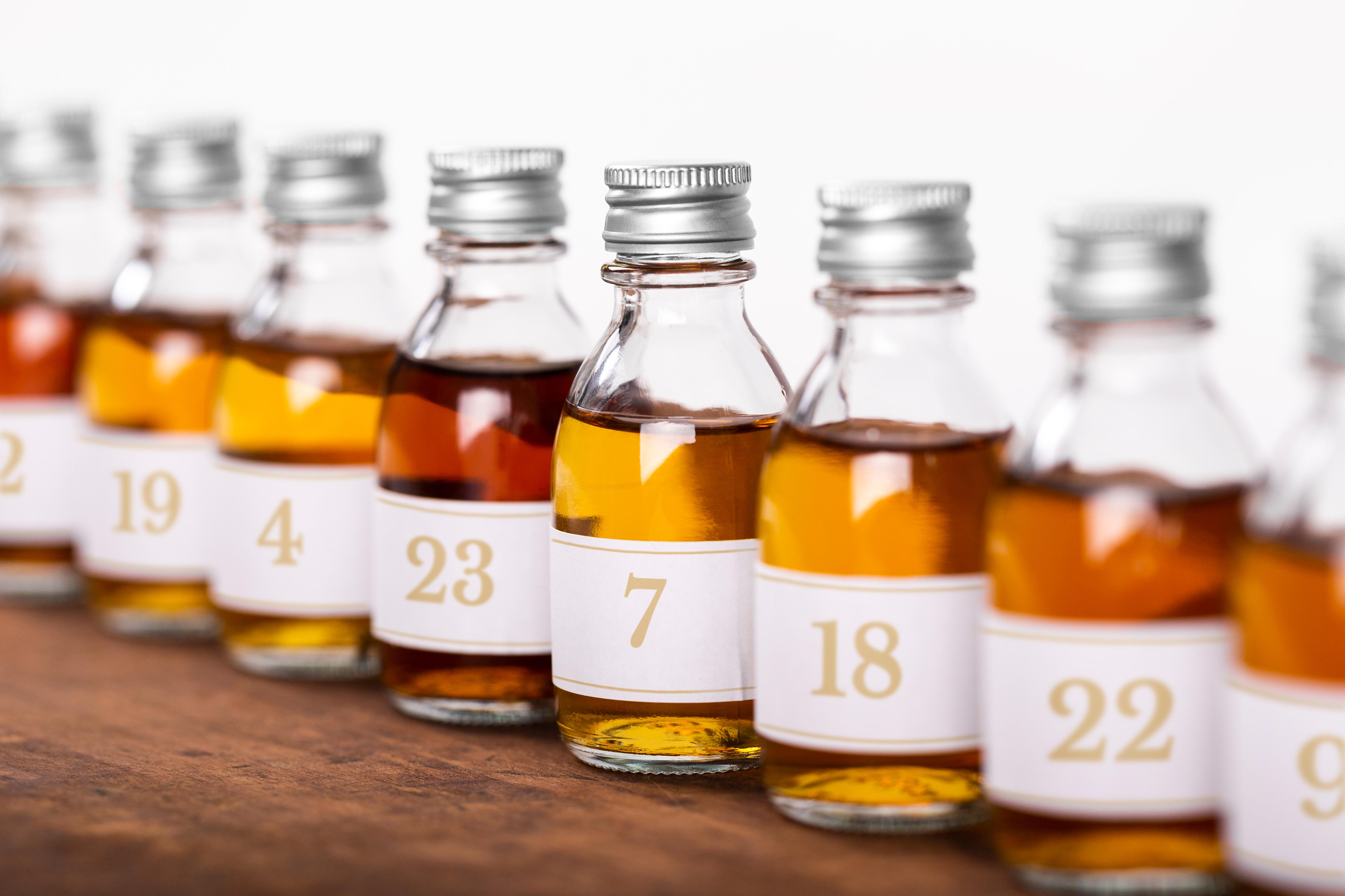 taster bottles aligned